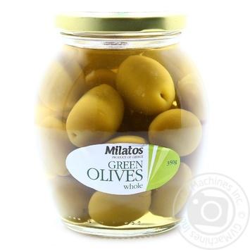 Оливки Milatos зеленые с косточкой 350г - купить, цены на Novus - фото 1