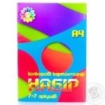 Набір картону кольорового A4 7+7ар.+папір кольоровий Тетрада