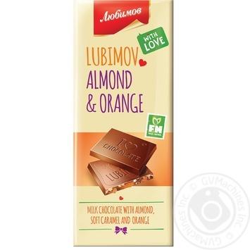 Шоколад молочный Любимов с миндалем, карамелью и апельсиновой цедрой 85г - купить, цены на Ашан - фото 1