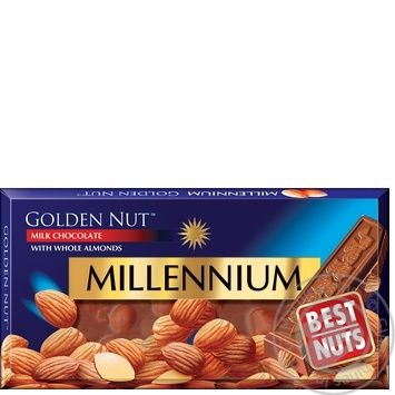 Millennium Golden Nut Milk Chocolate with Whole Almonds 90g - buy, prices for Furshet - image 3