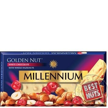 Millennium Gold white chocolate with nuts and cranberries 100g