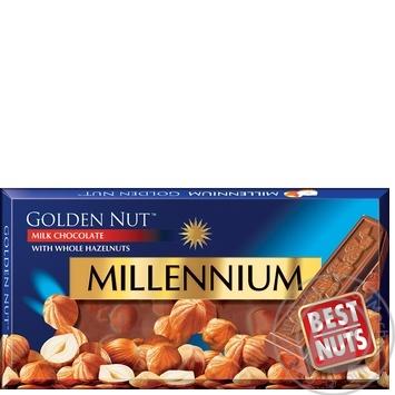 Шоколад молочный Millennium Golden Nut с цельными лесными орехами 100г