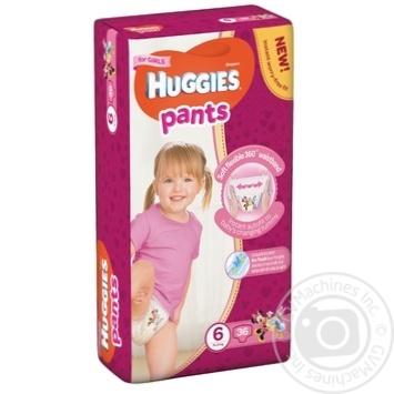 Подгузники-трусики Huggies для девочек 6 15-25кг 36шт