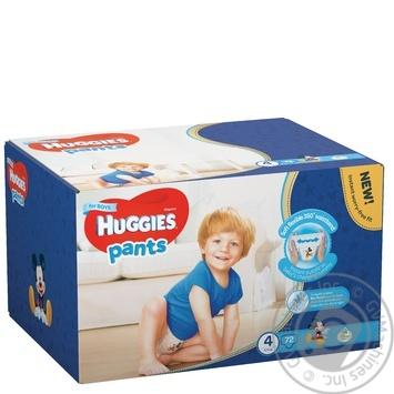 Подгузники-трусики Huggies для мальчиков 4 9-14кг 72шт/уп