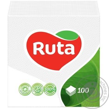 Серветки Ruta білі паперові 1-шарові 24*24см 120шт - купити, ціни на МегаМаркет - фото 1