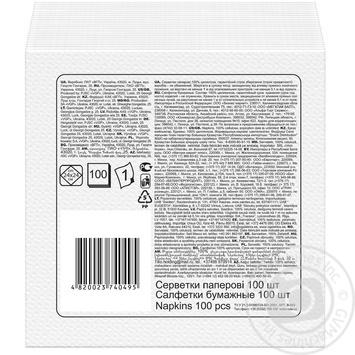 Серветки Ruta білі паперові 1-шарові 24*24см 120шт - купити, ціни на МегаМаркет - фото 2