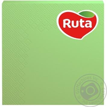 Серветки Ruta Колор зелені паперові 3-шарові 33*33см 20шт - купити, ціни на МегаМаркет - фото 1
