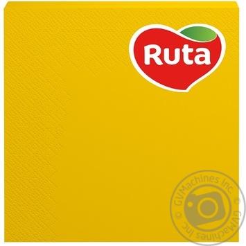 Серветки РУТА 33х33  3-х шарова 20л ЖОВТА (15 ш/к) - купити, ціни на МегаМаркет - фото 1