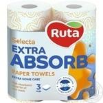 Полотенца бумажные Ruta Selecta белые 3-слойные 2шт - купить, цены на Novus - фото 1
