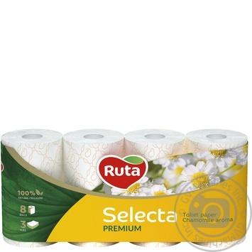 Папір туалетний Ruta Selecta білий з ароматом ромашки 3-шаровий 8шт - купити, ціни на Novus - фото 1