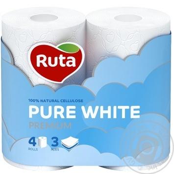 Бумага туалетная Рута Пур Вайт трехслойная белая 4шт - купить, цены на МегаМаркет - фото 3