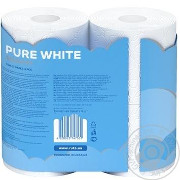 Бумага туалетная Рута Пур Вайт трехслойная белая 4шт - купить, цены на МегаМаркет - фото 2