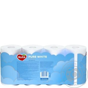 Бумага туалетная Рута Пур Вайт трехслойная белая 8шт - купить, цены на СитиМаркет - фото 4