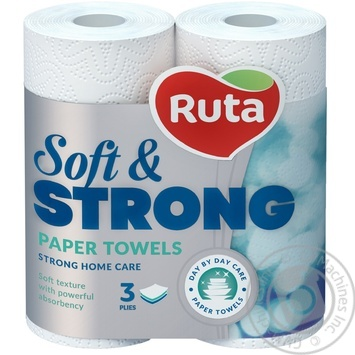 Ruta Soft&Strong White Paper Towels 3layer 2pcs - buy, prices for Metro - image 2