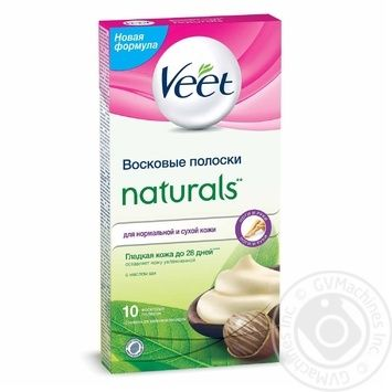 Восковые полоски для эпиляции Veet Naturals с маслом ши 10шт