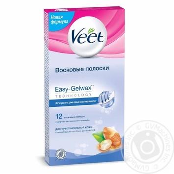 Воскові смужки Veet для епіляції з вітаміном Е та мигдальним маслом для  чутливої шкіри 12шт 48b89635dd735