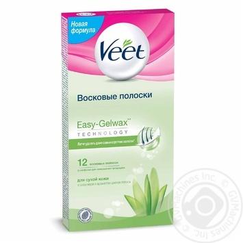 Восковые полоски Veet для эпиляции с Алоэ Вера и молочком лотоса для сухой кожи 12шт
