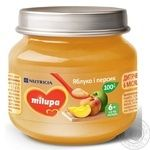 Puree peach Milupa peach for children from 6 months 100g glass jar