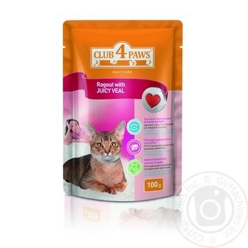 Корм Club 4 Paws для взрослых кошек Рагу c сочной телятиной 100г