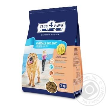 Корм сухий Club 4 Paws Гипоаллергенный для взрослых собак с мясом ягненка и рисом 3кг