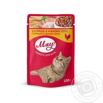 Мяу full-rationed canned pet food for adult cats With chicken in delicate sauce 100g - buy, prices for Novus - image 1