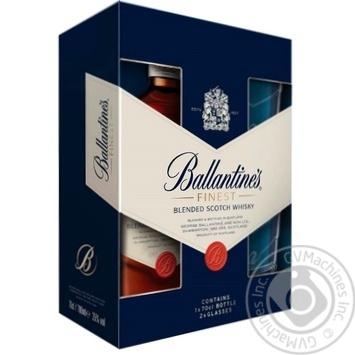 Віскі Ballantine's Finest 40% 0,7л + 2 келиха