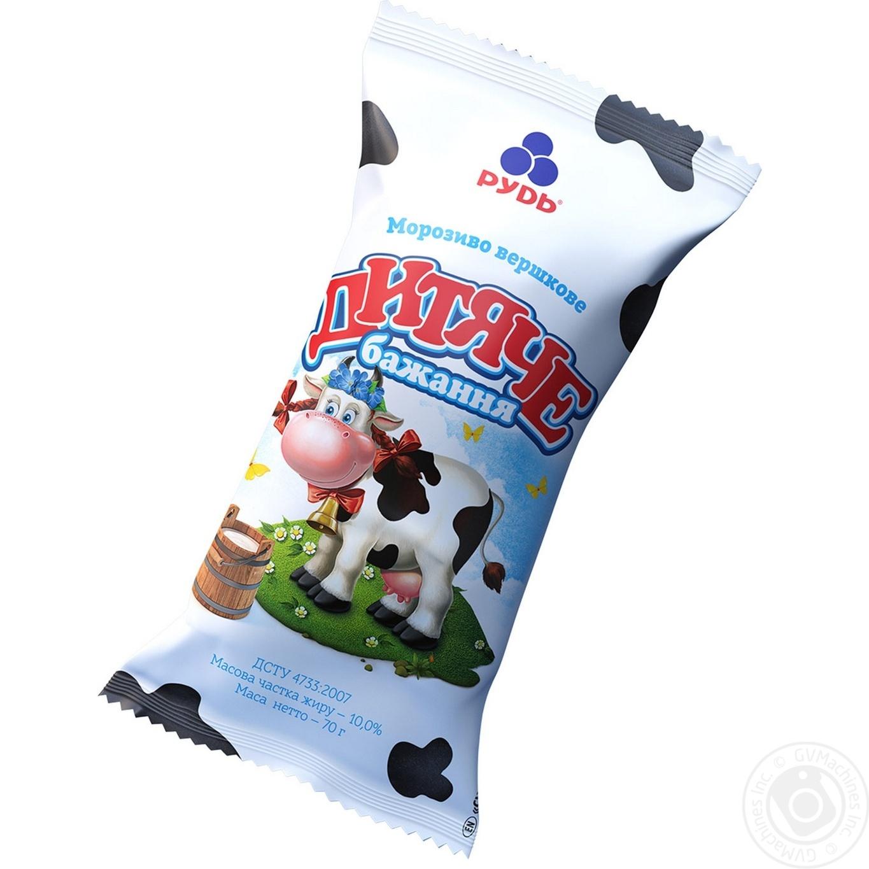 Мороженое Рудь Детское желание в вафельном стаканчике 70г
