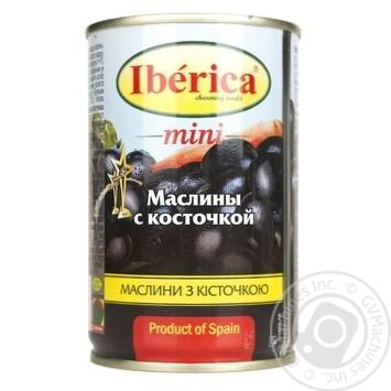 Маслины Иберика мини черные с косточкой 300г