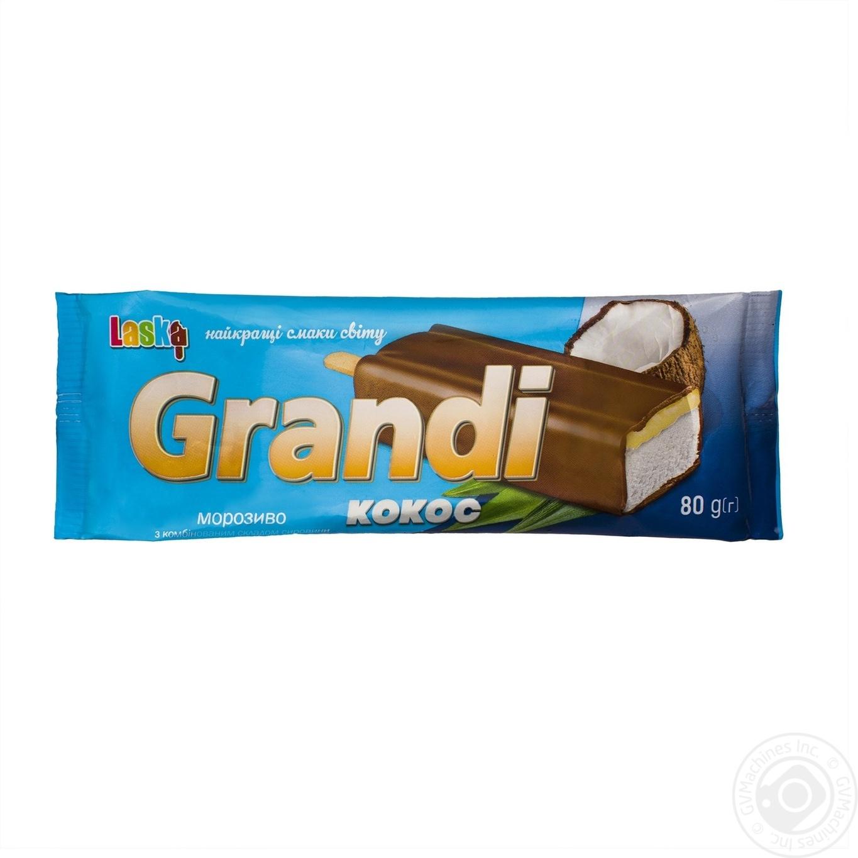 Мороженое Laska Grandi эскимо ванильное с наполнителем Кокос в кондитерской глазури 80г