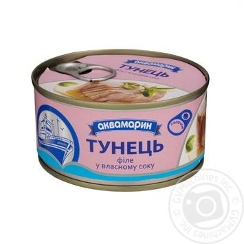 Тунец Аквамарин филе в собственном соку 185г - купить, цены на Фуршет - фото 1
