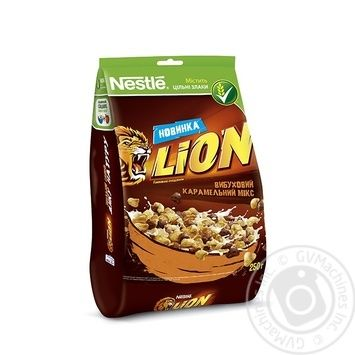 Скидка на Готовый завтрак Nestle Lion карамель и шоколад 250г