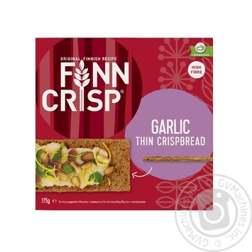Сухари Finn Crisp ржаные с чесноком 175г - купить, цены на МегаМаркет - фото 1