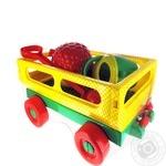 Набор игрушек Polesie Тележка с ручкой + Лопата средняя + Формочки Фрукты большие 4 шт + Лейка