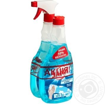 Средство SAMA Морозная свежесть для мытья стекол с запаской 2*500мл - купить, цены на Ашан - фото 1