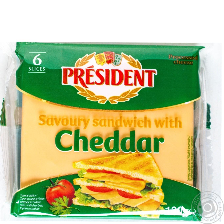 Сыр плавленый President Чеддер для сендвичей 40% 120г → Молочное и ... 99e227f549b