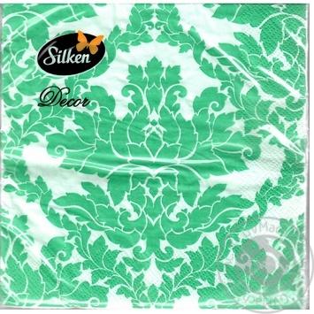 Салфетки Silken Decor целлюлозные трехслойные с печатью Дамаск 20шт - купить, цены на Novus - фото 1