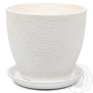 Горшок Магнолия 16*19*2,5 шёлк, белый, керамика - купить, цены на Novus - фото 1