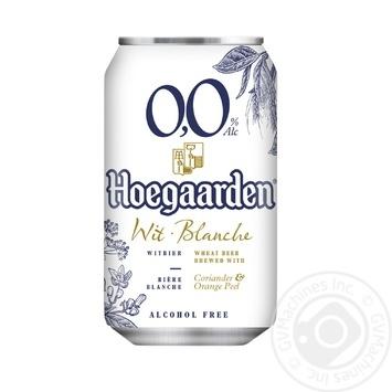 Пиво Hoegaardeh светлое безалкогольное 0,33л ж/б - купить, цены на МегаМаркет - фото 1