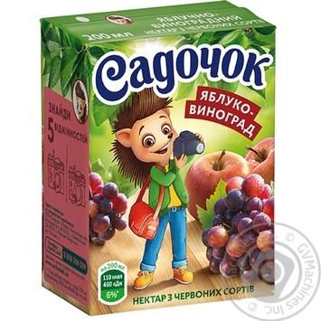 Нектар Садочок яблочно-виноградный из красных сортов 0,2л
