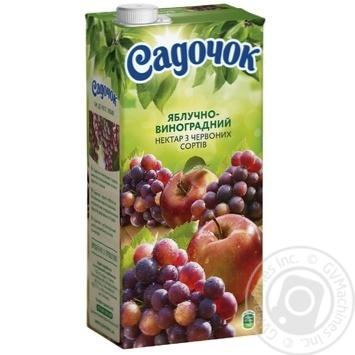 Скидка на Нектар Садочок яблочно-виноградный из красных сортов 1,93л