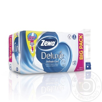 Туалетная бумага Zewa Deluxe белая 3-х слойная 16шт - купить, цены на Novus - фото 1