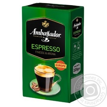Ambassador Espresso ground coffee 225g - buy, prices for MegaMarket - image 1