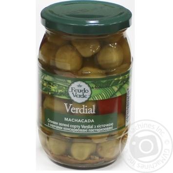 Оливки зелені Verdial з/к з овочами консервовані пастеризовані Feudo verde 360г - купить, цены на Novus - фото 1