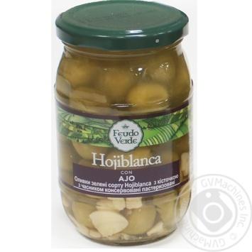 Оливки зелені Hojiblanca з/к з часником консервовані пастеризовані Feudo verde 360г - купить, цены на Novus - фото 1