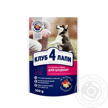 Корм Club 4 Paws Премиум для щенков С курицей в желе 100г - купить, цены на Метро - фото 1