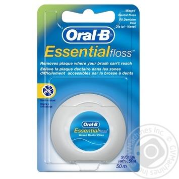 Зубная нить Oral-B Essential floss Waxed мятная 50м - купить, цены на Ашан - фото 2