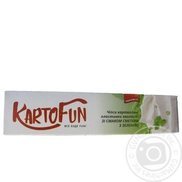 Чипсы KartoFun картоф пласт волнист вкус смет/зел 50г