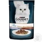 Корм GOURMET Perle Duo С телятиной и уткой для взрослых кошек 85г