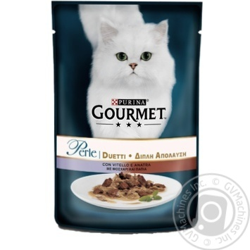 Корм GOURMET Perle Duo З телятиною та качкою для дорослих котів 85г - купити, ціни на Ашан - фото 1