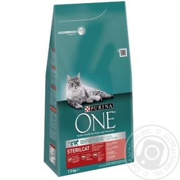 Корм сухой Purina ONE Sterilcat С лососем и пшеницей для кастрированных котов и стерилизованных кошек 1,5кг